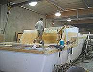 Buiding a sport fishing vessel.