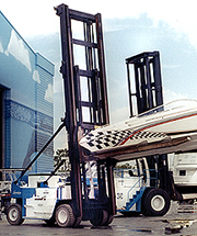 A Wiggins Marina Bull forklift in action.